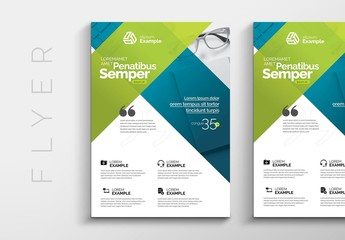 Green and Blue Trifold Business Brochure Layout