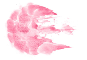 Abstract watercolor background hand-drawn on paper. Volumetric smoke elements. Pink, Rapture Rose color. For design, websites, card, text, decoration, surfaces.
