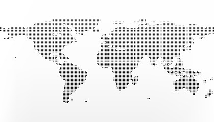World map in squares. Earth business concept in flat style isolated on white