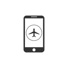 Airplane mode of smartphone. Vibration. Plane icon. Vector illustration. Flat design.