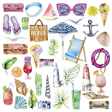 Summer, sea, beach and travel watercolor elements collection, hand painted isolated on a white background