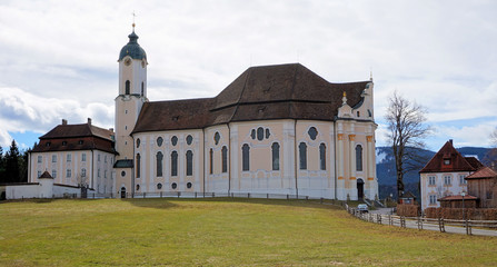 View of the Pilgrimage Church of Wies in Steingaden, Weilheim-Schongau district, Bavaria, Germany.