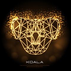 Abstract polygonal tirangle animal koala neon sign. Hipster animal illustration.