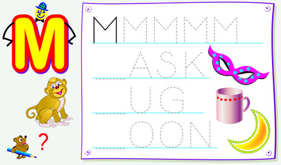 Educational page for young children with letter M for study English. Developing skills for writing and reading. Vector cartoon image.