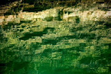 Blurred reflection of rocks in water. Abstract background.
