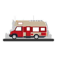 Camper van vehicle at city over cityscape vector illustration graphic design