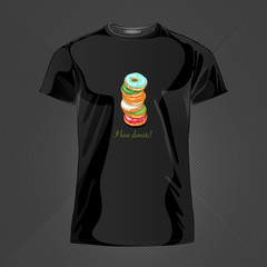 Original print for t-shirt. Black t-shirt with fashionable design - Yummy donuts. Vector Illustration