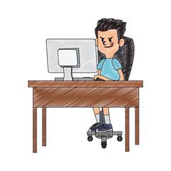 Idle boy using computer cartoon vector illustration graphic design