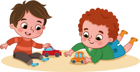 Little boys playing with toy cars. (Vector illustration)