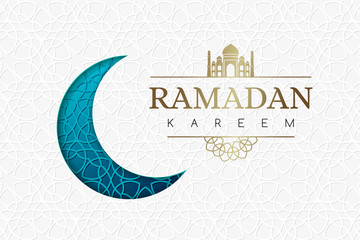 Ramadan background with blue moon and geometric white texture.
