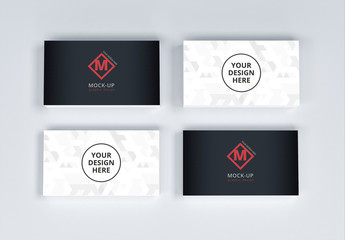4 Horizontal Business Cards on Gray Mockup