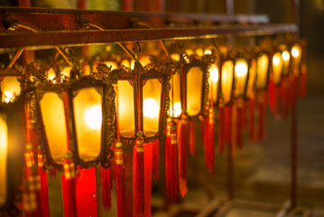 Beautiful Chinese lanterns in the Buddhist temple of  Man Mo in Hong Kong - 11
