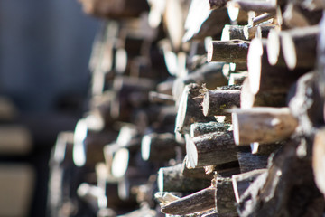 Closeup of stacked firewood.