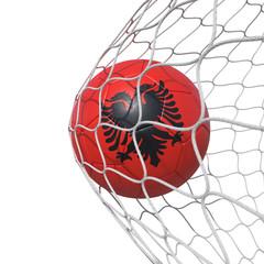 Albanian Albania flag soccer ball inside the net, in a net.