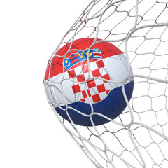 Croatia Croatian flag soccer ball inside the net, in a net.