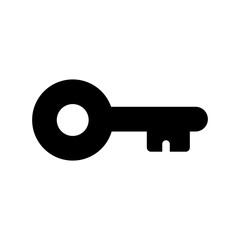 Simple, flat, small, black key silhouette icon. Isolated on white