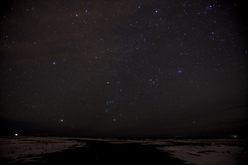 The stars shining brightly at night in Iceland