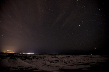 A nightime landscape on the Reykjanes Peninsula