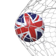 England United Kingdom English British  Britannia flag soccer ball inside the net, in a net.