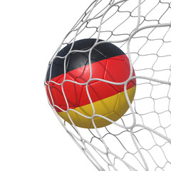 Germany German flag soccer ball inside the net, in a net.