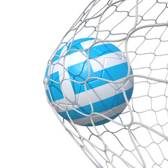 Greece Grecian Greek flag soccer ball inside the net, in a net.