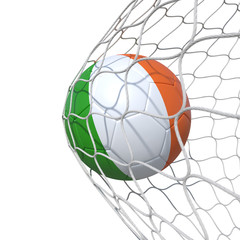 Ireland Irish flag soccer ball inside the net, in a net.
