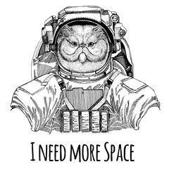 Portrait of fluffy persian cat Astronaut. Space suit. Hand drawn image of lion for tattoo, t-shirt, emblem, badge, logo patch kindergarten poster children clothing