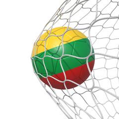 Lithuania Lithuanian flag soccer ball inside the net, in a net.