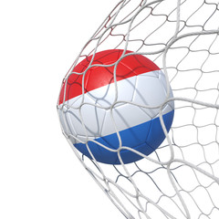 Luxemburg luxembourg flag soccer ball inside the net, in a net.