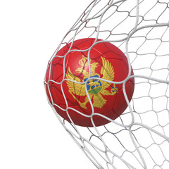 Montenegro Montenegrin flag soccer ball inside the net, in a net.