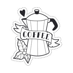 Сoffee-making machine illustrations. Cute lineart style. Coffee stuff.  Vector print, stickers, icons