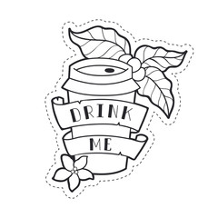 """Coffee paper cup to go. Illustrations with text on a ribbon """"Drink Me"""". Cute lineart style. Coffee stuff.  Vector print, stickers, icons"""
