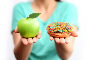 Choose or decide a healthy lifestyle concept eating fresh food instead unhealthy nutrition