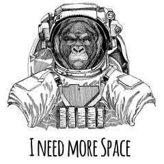 Gorilla, monkey, ape Frightful animal Astronaut. Space suit. Hand drawn image of lion for tattoo, t-shirt, emblem, badge, logo patch kindergarten poster children clothing