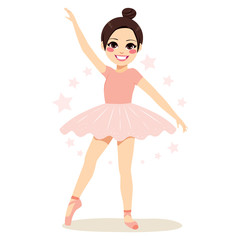 Cute brunette young teenager girl ballerina wearing pink tutu and dancing