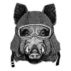 Hog, wild boar with motorcycle helmet. Vintage motorcycle headdress. Illustration for children, kindergarten kids. Print for children shirt, clothing, tattoo, emblem, badge, logo, patch, t-shirt