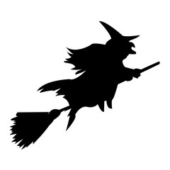 witch silhouette clip art on white background, in black
