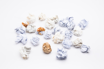 Crumpled papers on white background