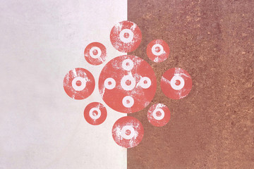 Geometric circles patterns symmetrical abstract images red white background