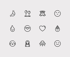 Emoji icons. Set of alien character mascot, angel emoji and emoji heart vector sign symbols. Vector illustration of romance emoticons set for logo web mobile design.
