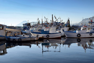 Fishing boats and fishing boats in the port of Porticello, Palermo, Sicily, Italy