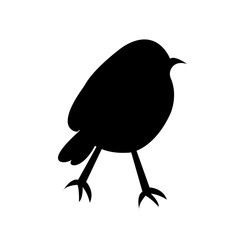 robin silhouette on white background, in black
