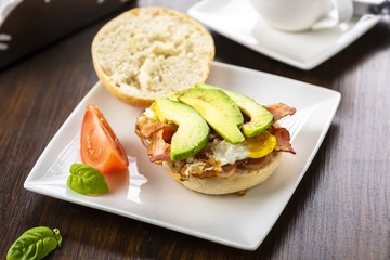 sandwich with bacon, egg and avocado