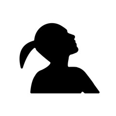 silhouette profile pic on white background, in black