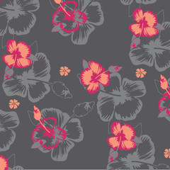Seamless tropical flower. Blossom flowers for seamless pattern background.