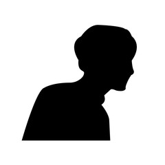 silhouette profile pic on white background, in black