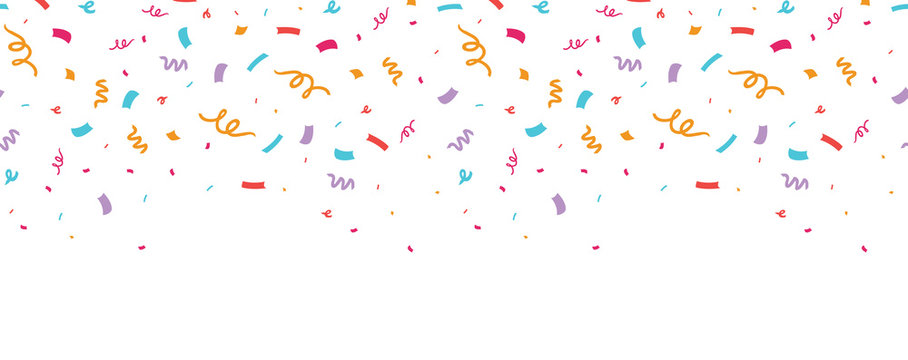 Colorful confetti border frame repeat pattern. Great for a birthday party or an event celebration invitation or decor. Surface pattern design.