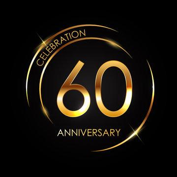 Template 60 Years Anniversary Vector Illustration