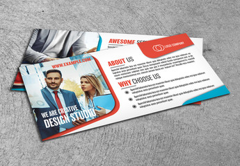 Flyer Layout with Orange and Blue Accents