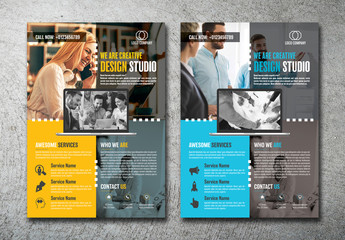 Business Flyer Layout with Yellow and Blue Accents